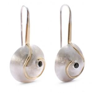 Sidabriniai auskarai su auksu ir safyrais - Silber Ohrringe mit Gold