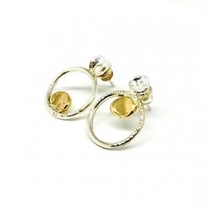 Sidabriniai auskarai su aukso detalėm